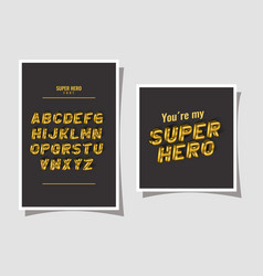 3d super hero lettering and alphabet on gray vector image