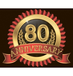 80 years anniversary golden label with ribbon vector image