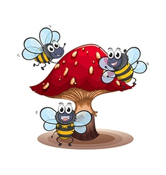 A big mushroom with smiling bees vector image