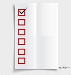 A checklist with black marker and red checked vector image