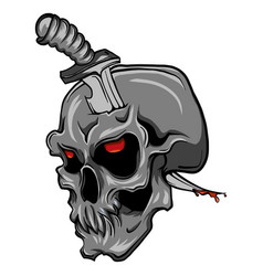 a human skull with a knife vector image