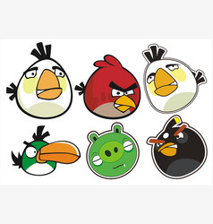 Angry birds complete set vector