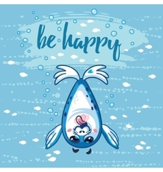 Be happy Cute card with cartoon baby Seal vector image