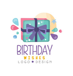 birthday wishes logo colorful creative template vector image