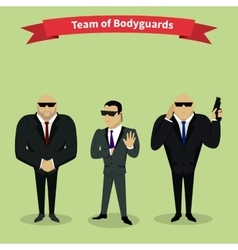 Bodyguards Team People Group Flat Style vector image