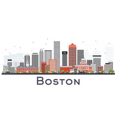 Boston massachusetts skyline with gray and red vector