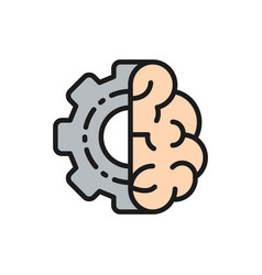 Brain with gear wheel engineer mind intellect vector