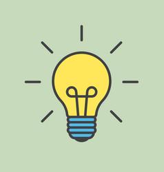 Cartoon light bulb with contour vector