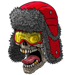 cartoon skull in winter fur hat with ear flaps vector image