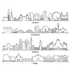 Cityscape building line design vector
