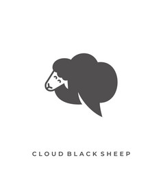 cloud black sheep template vector image