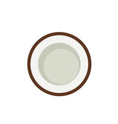 coconut in cut top view simple icon vector image