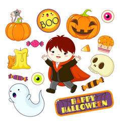 Collection of halloween icons vector