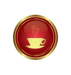 Cup with hearts dating icon vector image