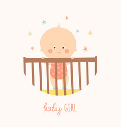 cute baby 1 year old standing in crib baby shower vector image