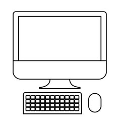 desktop computer icon in monochrome silhouette vector image