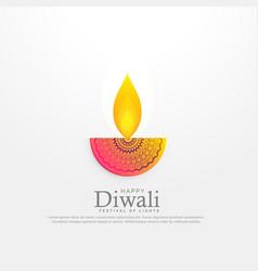 diwali festival diya in floral decoration design vector image