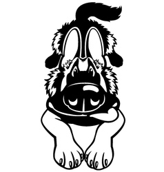 doggy black white vector image