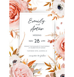 elegant stylish fall floral wedding invite card vector image