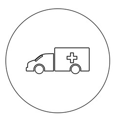 emergency car icon black color in circle isolated vector image