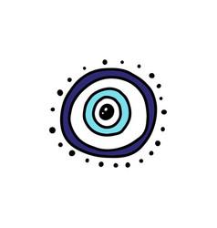 Evil eye blue circle charm symbol or sign cartoon vector