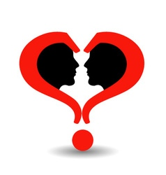 Faces with question marks shaped like heart vector image