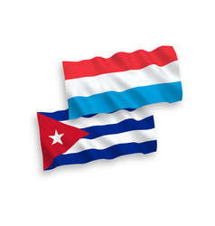 Flags cuba and luxembourg on a white background vector