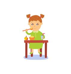 flat girl eats apple and porridge vector image vector image