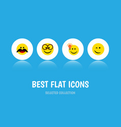 Flat icon face set of pleasant cheerful winking vector