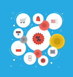 flat icons purchase trolley buy now and other vector image