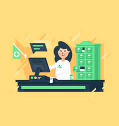 flat young woman seller pharmacists at cashier vector image