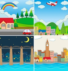 Four different scenes of city vector image