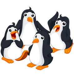 Four penguins with happy face vector