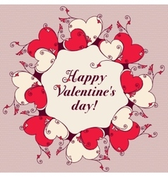 Frame of hearts for design Valentines day message vector image