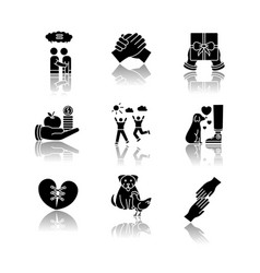 Friendship and support drop shadow black glyph vector