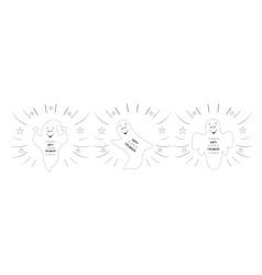 Funny ghosts flying in night sky happy vector