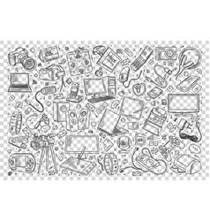 Gadgets doodle set vector