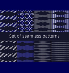 Geometric set seamless patterns with striped vector