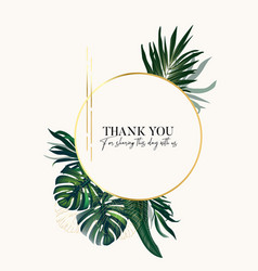 gold foil and greenery palm leaves spakle luxury vector image