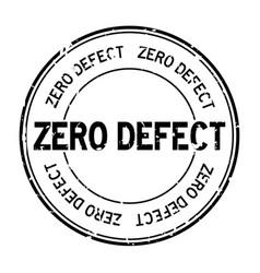 Grunge black zero defect word round rubber seal vector