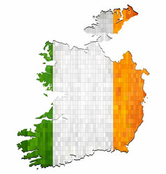 Grunge ireland map with flag inside vector