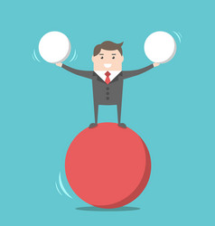 Happy businessman balancing vector