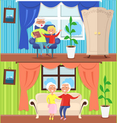 happy grandparent day grandpa grandson grandma set vector image