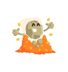Happy rock golem asteroid monster playing vector
