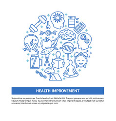 health improvement round concept banner in line vector image