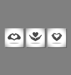 Heart from hand icons set vector