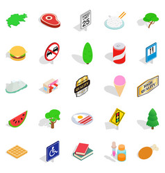 helvetian icons set isometric style vector image