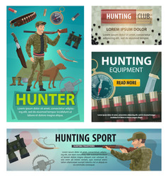hunting sport cards of hunter rifle and equipment vector image