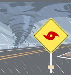 hurricane danger warning road sign flat vector image