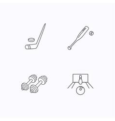 Ice hockey bowling and baseball icons vector image